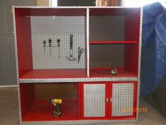 old entertainment center tool bench for little kids