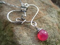 'My Funky Valentine'  Sterling Silver with hot pink chalcedony