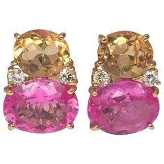 Large Citrine Pink Topaz Diamond gold Gum Drop earrings   From a unique collection of vintage drop earrings at https://www.1stdibs.com/jewelry/earrings/drop-earrings/