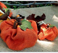 burlap pumpkins 3 sizes