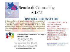 """OPEN DAY  DIVENTA COUNSELOR"""" A.I.C.I.  UNA NUOVA PROFESSIONE _ UN NUOVO MODO DI AVERE CURA DI SE' e DEGLI ALTRI"""" .. Il Counseling è """"Attività professionale di cui alla Legge 14/01/2013 n. 4""""  La scuola Di Counseling A.I.C.I. è MODULARE e Circolare ed è POSSIBILE ISCRIVERSI in Qualsiasi MOMENTO dell'ANNO *il TESSERAMENTO alla ASSOCIAZIONE è ANNUALE   I corsi A.I.C.I. riconosciuti da A.N.CO.Re  ASSOCIAZIONE NAZIONALE COUNSELOR RELAZIONALI   Per INFO 393 3992201-329 2639270"""