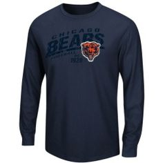 Men's Chicago Bears Majestic Navy Blue Classic Thermal Long Sleeve T-Shirt