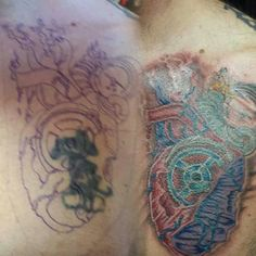 Cover up. Anatomical heart tattoo done by Bob Bachman at Permanent Images.