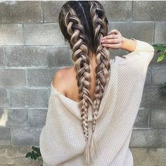 Top 20 braided hairstyles for summer 2017 - long dutch braids hairstyle black and blonde