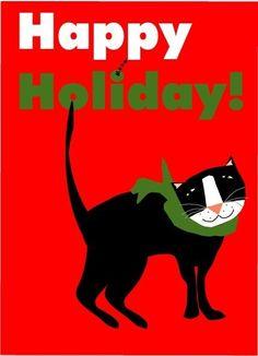 tuxedo cat happy holiday greeting card. $3.50, via Etsy.
