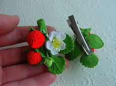 Price for 2 hair clips. Baby hair clips are the perfect accessory to compliment any casual or dressy outfit you put together for baby girl. Perfect for your little princesses. This darling hair clips with flowers and berries is perfect for flower girl, baptisms, birthdays, photo
