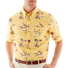 St. John's Bay® Short-Sleeve Printed Tropical Shirt  found at @JCPenney