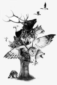 wolf & horse - temporary tattoo