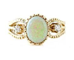 14K Vintage Opal Ring Diamond Art Nouveau Antique Custom Gemstone Ring October Birthstone. $1,276.00, via Etsy.