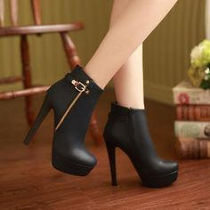 Elegant Black Side Zip High Heels Fashion Boots