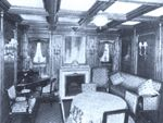 Titanic, sitting area of suite C62 which along with C64 was occupied by John Jacob Astor and his young pregnant wife, Madeleine. His manservant, Victor Robbins (C122) and Madeleine' s maid Rosalie Bidois (C112), and nurse Caroline Endres (C45) as well as their dog named Kitty traveled with them. The three women survived on lifeboat #4.