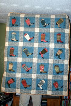 Boot Scootin' quilt made for daughter Pat for Christmas 2008.  Click photo to see quilt right-side-up.