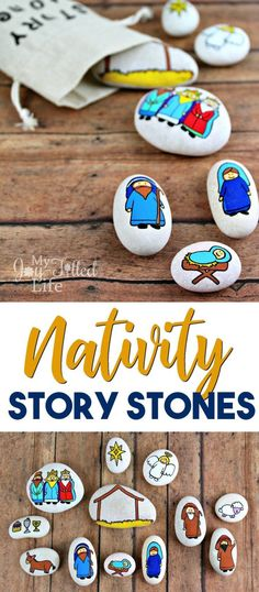 Nativity story stones help to keep Christ at the center of Christmas - use them as story props or as a simple nativity scene, or even as a gift. #nativity #storystones