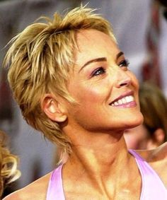 Sharon Stone- I so like the wispy ends in back and side. But her hair is is very thin.  So this may not look good on me.