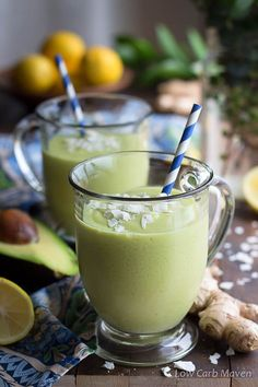 A healthy green avocado smoothie made with detox ingredients like ginger and turmeric, both high in antioxidants and anti-inflammatory compounds. This recipe is sugar free low carb, keto, paleo. THM, Whole 30, gluten free and vegan.