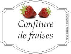 Étiquette pour confiture de fraises | Gratuit PDF imprimable