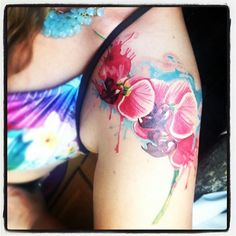 Watercolor orchid tattoo found on IG