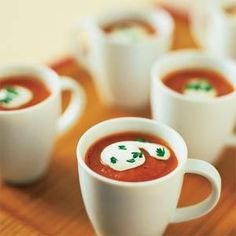 This make-ahead recipe is perfect for entertaining. Guests can sip the zesty tomato soup from small cups or glasses.