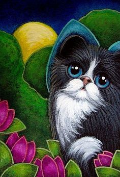 Art: TUXEDO FAIRY KITTEN CAT IN MY GARDEN by Artist Cyra R. Cancel