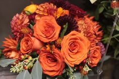 Deep burnt orange rose bouquet fall wedding flowers