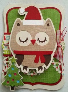 Christmas Mode...Christmas Owl Card made with my Cricut #christmascard #owl #cricut #christmascrafts