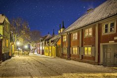 Stockholm winter. - Mäster Mikaels gata (Eng: Master Mikaels street) at Södermalm. Houses from 1729. Stockholm, Sweden. More photos at: www.stockholmsfotografier.se