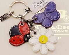 NWT Coach Multi Patent Charm KeyChain Key Fob with Flower Ladybug Butterfly 7184 Leather Keychain, Leather Necklace, Leather Jewelry, Crochet Wallet, Leather Art, Leather Projects, Small Leather Goods, Key Fobs, Lady Bug