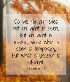 So we fix our eyes not on what is seen, but on what is unseen... 2 Corinthians 4:8