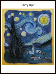 Starry Night - wet felted, needle felted by Felt Evolution
