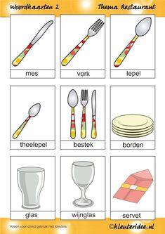 Word cards 2 for toddlers, theme restaurant, Miss Petra van kleuteridee.
