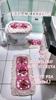 JOGO DE BANHEIRO DE CROCHE PONTO CESTA  parte 01 TAPETE PIA|ARTS CRISTINA
