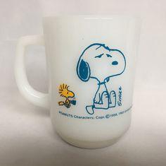 Vintage Snoopy Coffee Mug Fire King Milk by BlueHeavenVintage