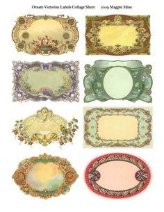 Reich verzierten viktorianischen Etiketten Collage Sheet - Instant Download - Lust auf Frames - 2 x 3.5 Zoll jeweils - Druckversion