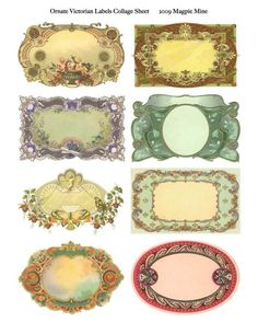 Ornate Victorian Labels Collage Sheet - Digital Download - Fancy Frames - Approximately 2 x 3.5 Inches Each - Printable