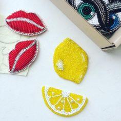 Work progress for a brand... #beadedbrooch #beadearrings #beadedjewelry #beadembroideryjewelry #beadembroidery #handmadejewelry #lemonslice #lemonpin #lemonjewellery #fruitjewelry #lemonearrings #lips #lipsbrooch #lipsearrings #redlips #redlipsbrooch #lipspin #zefirinastudio #springcollection #spring2017 #uniquegift #uniquejewelry #moscow #nycjewelry #minsk #odessa #kazan