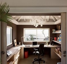 Small home office ideas. Good storage.