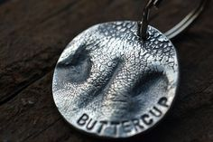 Dog Nose Personalized Silver Round Keychain by LilyBuds on Etsy