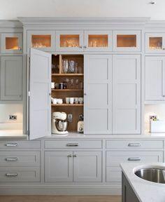 Appliance Cabinet, Kitchen Appliance Storage, Kitchen Pantry Cabinets, Kitchen Doors, Appliance Garage, Kitchen Appliances, Small Appliances, Glass Cabinets, Kitchen Cabinets Floor To Ceiling