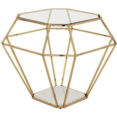 Adler Hollywood Gold Frame Diamond Shape Glass Side Table (4.260 BRL) ❤ liked on Polyvore featuring home, furniture, tables, accent tables, geometric side table, gold table, white marble end table, glass end tables and glass side table