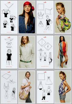 Ideoita huivin sitomiseen: päähän, vyksi, laukuksi, paidaksi, tunikaksi