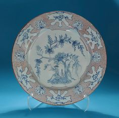 """GOOD ENGLISH DELFT MANGANESE & BLUE """"WOOLSACK"""" CHARGER, Probably Liverpool, c1745-55*FOR SALE* Click to read about the history and see more detailed images*"""