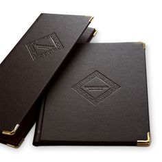 Bonded Leather Menu Covers - The Smart Marketing Group - Hospitality - Vintage Style Menu Cover - Vintage Hospitality Supplies Carta Restaurant, Restaurant Branding, Bonded Leather, Gold Leather, Resturant Logo, Diy E Liquid, Hospitality Supplies, Food Menu Design, Menu Book