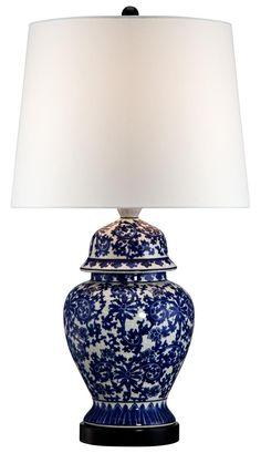 Blue and White Porcelain Temple Jar Table Lamp | LampsPlus.com