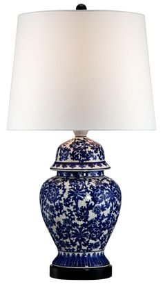 Blue and White Porcelain Temple Jar Table Lamp -