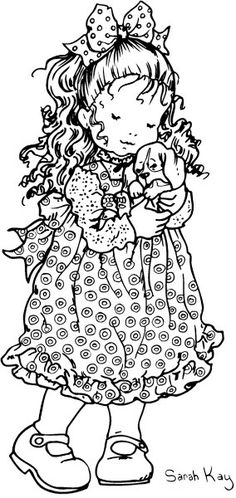 Sarah Kay - Girl with Puppy Holly Hobbie, Sarah Key, Coloring Book Pages, Copics, Coloring For Kids, Digital Stamps, Colorful Pictures, Illustration, Drawings