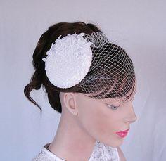 Bridal cocktail hat weddings pillbox hat by WeddingsBridal on Etsy, $75.00