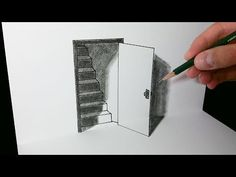 The Door Illusion - Magic Perspective with Pencil - By Vamos Optical Illusions Drawings, Illusion Drawings, Art Optical, Easy 3d Drawing, 3d Art Drawing, Paper Drawing, Illusion Kunst, Illusion Art, 3d Pencil Drawings