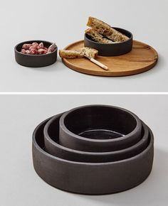 These modern black ceramic stacking bowls are a great way to bring in a bit of black into your kitchen