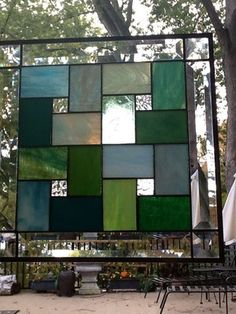 Stained Glass Transom Window Panel - Patchwork In Blues And Greens