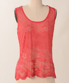Take a look at this Coral Sheer Ashbury Tank Top by Down East Basics on #zulily today!